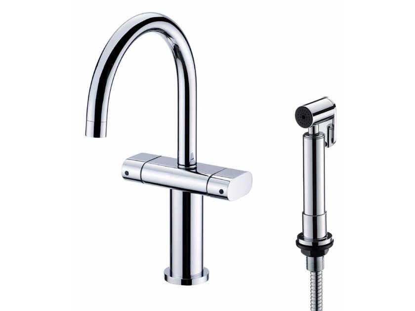 Countertop chromed brass kitchen mixer tap with spray PERFECTO   Kitchen mixer tap with spray by JUSTIME