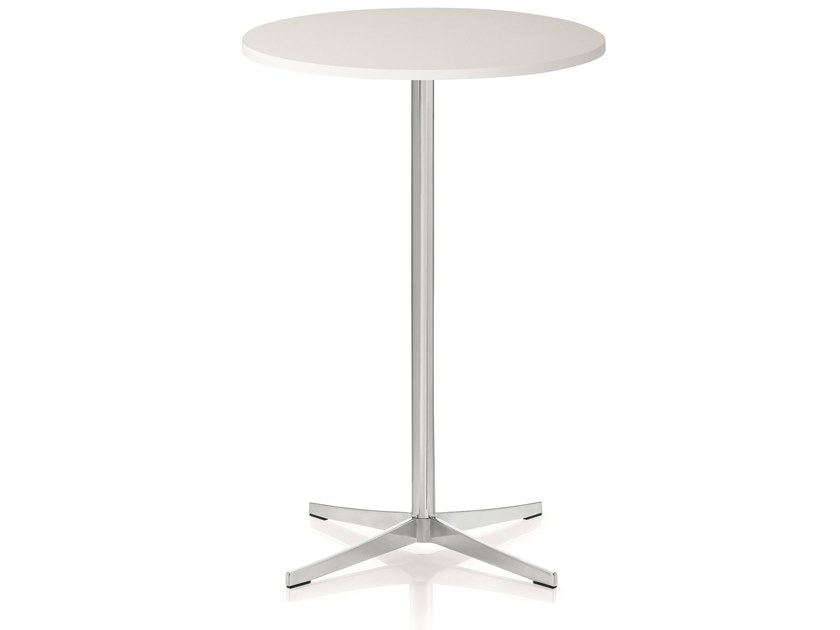 Round MDF high table and chromed steel base PERILLO TAVOLA | Round table by ZÜCO