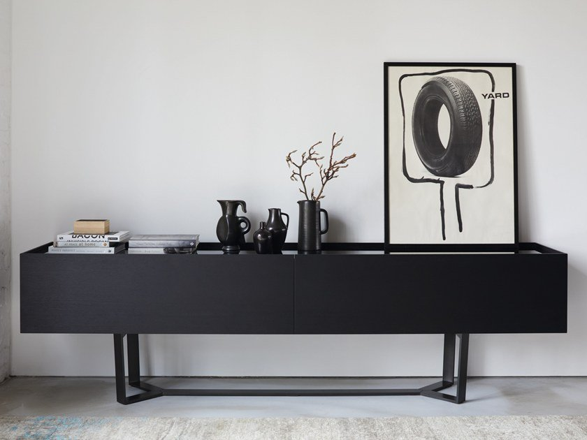 Wood and glass sideboard with drawers PERO | Sideboard by more
