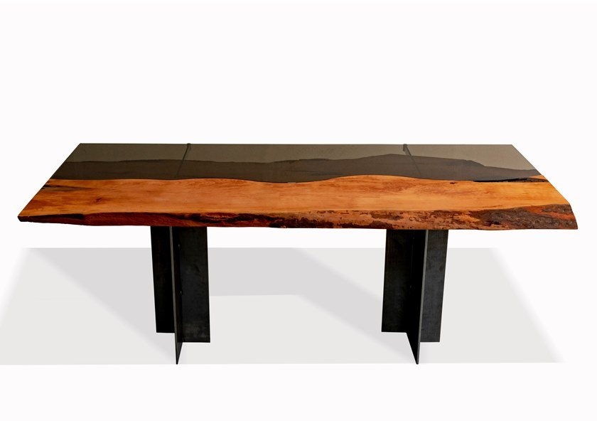 Rectangular pear wood and glass table TABULA RARITÀ | Pear wood table by Tabula