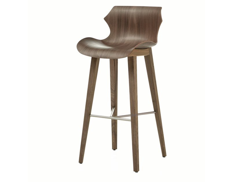 Wooden barstool with back PETAL | Barstool by BassamFellows