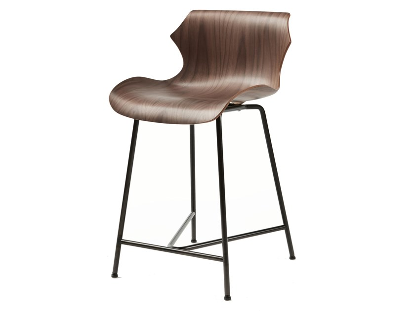Steel and wood stool with back PETAL | Stool by BassamFellows