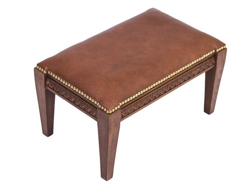 Leather footstool PETAL by Woodmade