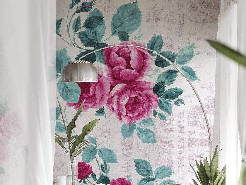 Panoramic wallpaper with floral pattern PETITE PROVENCE 2018 by Inkiostro Bianco