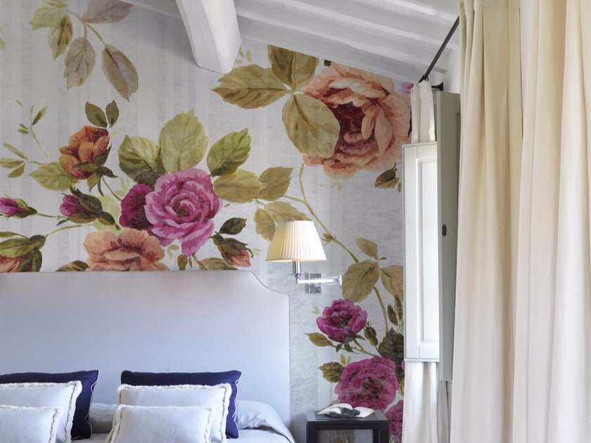 Panoramic wallpaper with floral pattern PETITE PROVENCE by Inkiostro Bianco