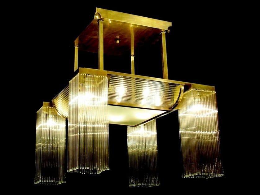 Lampadario a luce diretta fatta a mano in ottone PETITOT VI | Lampadario by Patinas Lighting
