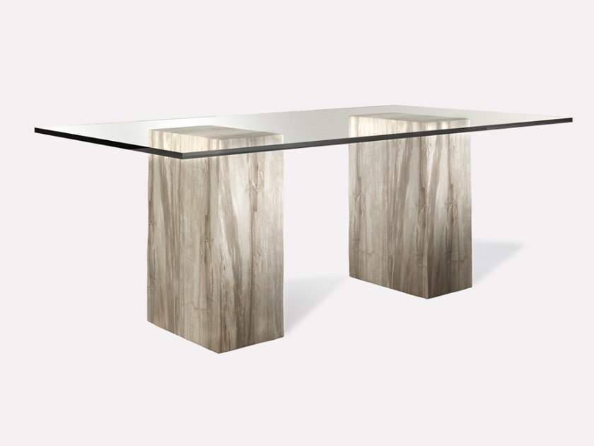 Rectangular wood and glass dining table PETRA PILLAR | Rectangular table by MORADA