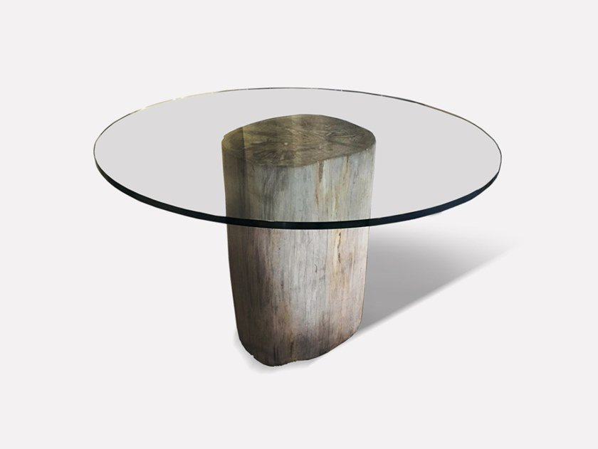 Round wood and glass dining table PETRA PILLAR   Round table by MORADA