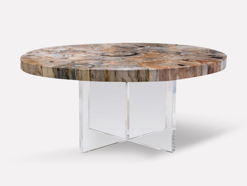 Round acrylic and wooden coffee table PETRA | Round coffee table by MORADA