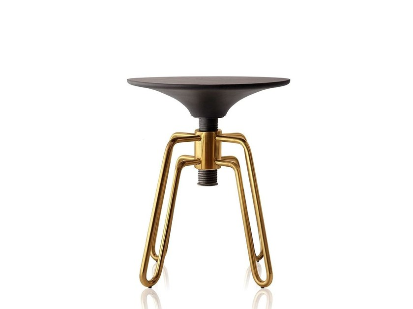 Low height-adjustable brass stool PHILLIPS | Brass stool by Sollos