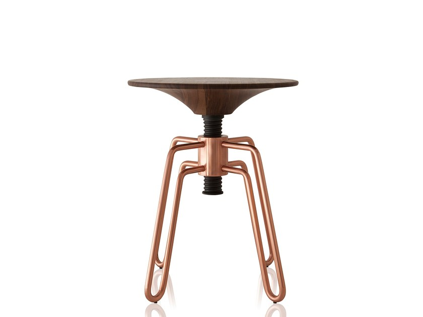 Low height-adjustable copper stool PHILLIPS | Copper stool by Sollos
