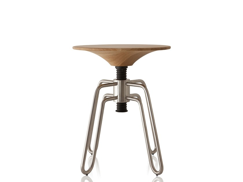 Low height-adjustable stainless steel stool PHILLIPS | Stainless steel stool by Sollos