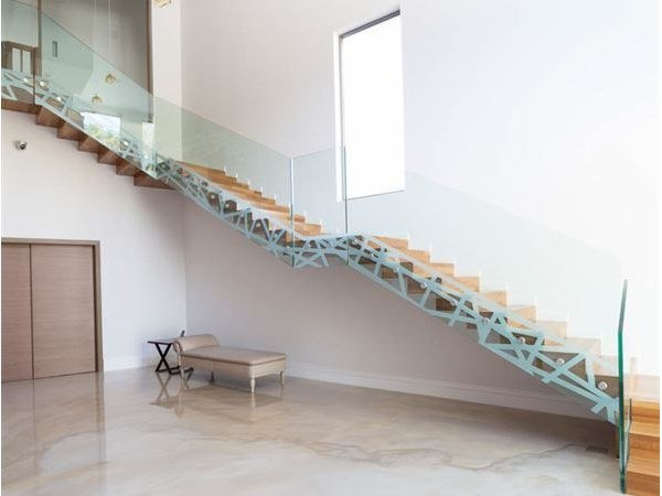 Wood and glass Open staircase PYTHON by Siller Treppen