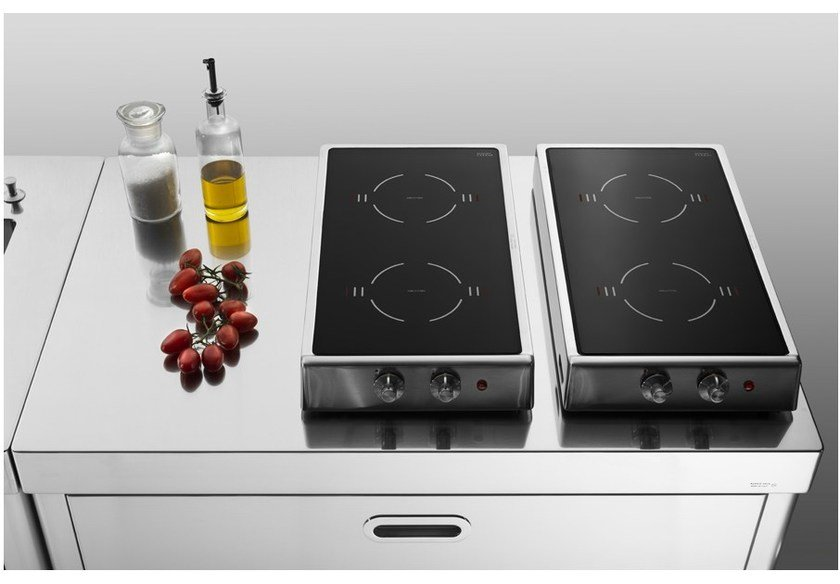 Induction countertop stainless steel hob PIANI COTTURA RIBALTABILI A INDUZIONE | Stainless steel hob by ALPES-INOX