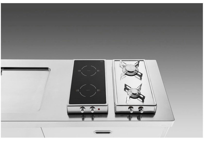 Gas induction countertop stainless steel hob PIANI COTTURA RIBALTABILI GAS-INDUZIONE by ALPES-INOX