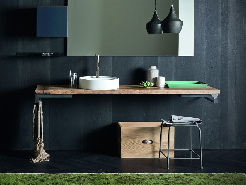 Oak washbasin countertop PIANO II by AltaCorte