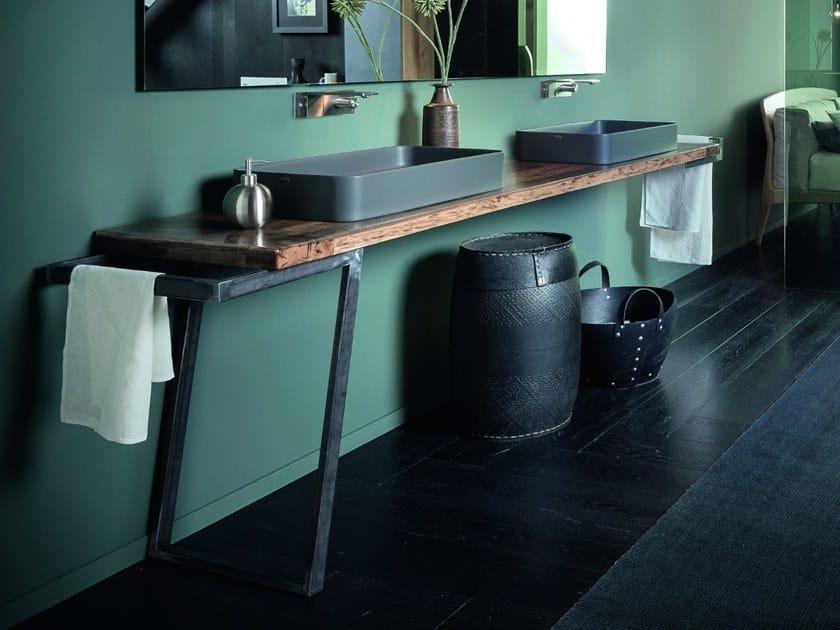 Oak washbasin countertop PIANO I by AltaCorte