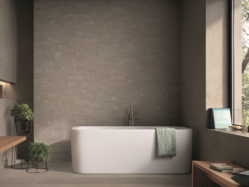 Porcelain stoneware wall tiles with stone effect PIASE BRICK FIAMMATA by EmilCeramica by Emilgroup
