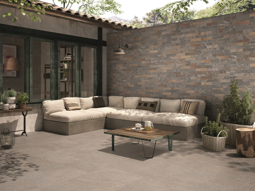 Outdoor porcelain stoneware wall tiles with stone effect PIASE BRICK SPACCO MULTICOLOR by EmilCeramica by Emilgroup