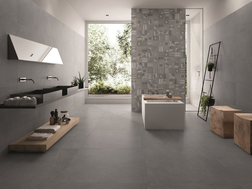 Porcelain stoneware wall/floor tiles with stone effect PIASE PIANO SEGA ANTRACITE by EmilCeramica by Emilgroup
