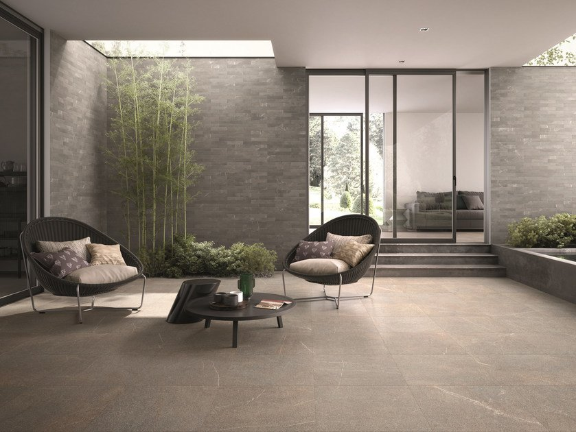 Porcelain stoneware wall/floor tiles with stone effect PIASE PIANO SEGA GRIGIO by EmilCeramica by Emilgroup