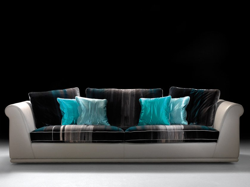 Leather and fabric sofa PIAZZA by Borzalino