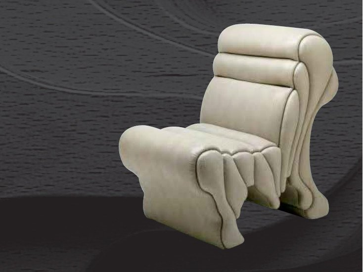 Upholstered leather armchair PICCOLA LAVICA by Mirabili