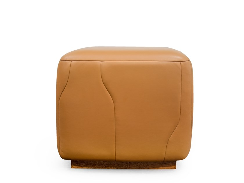 Upholstered leather pouf PIER by Formitalia