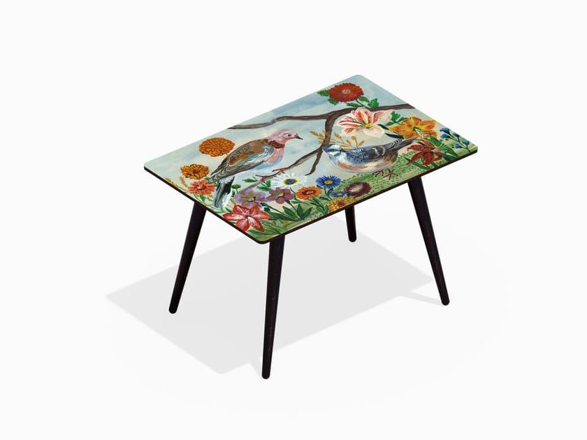 Tavolino rettangolare in HPL e faggio PIGEONS XL by Bazartherapy