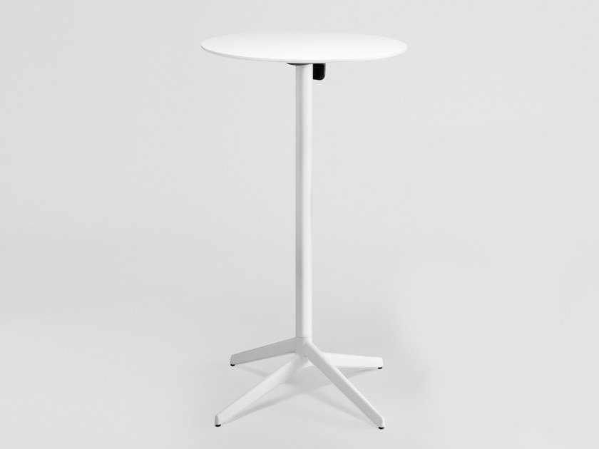 Drop-leaf high table with aluminium base and HPL top PILE | Drop-leaf table by ENEA