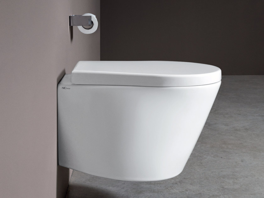 Wall-hung ceramic toilet PILLOW | Wall-hung toilet by Nic Design