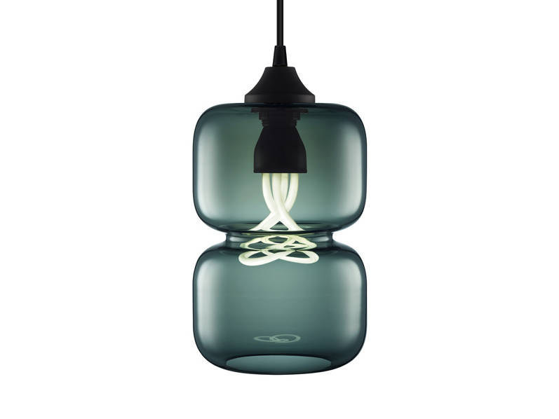 Handmade blown glass pendant lamp PINCH CHROMA by Niche Modern