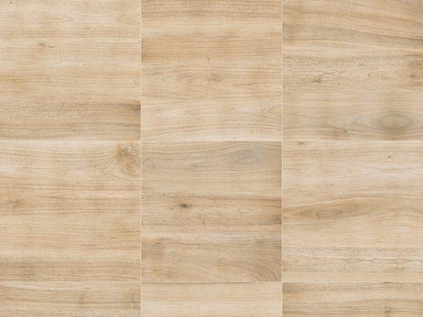 Porcelain stoneware outdoor floor tiles with wood effect PINETA NOCE by GRANULATI ZANDOBBIO