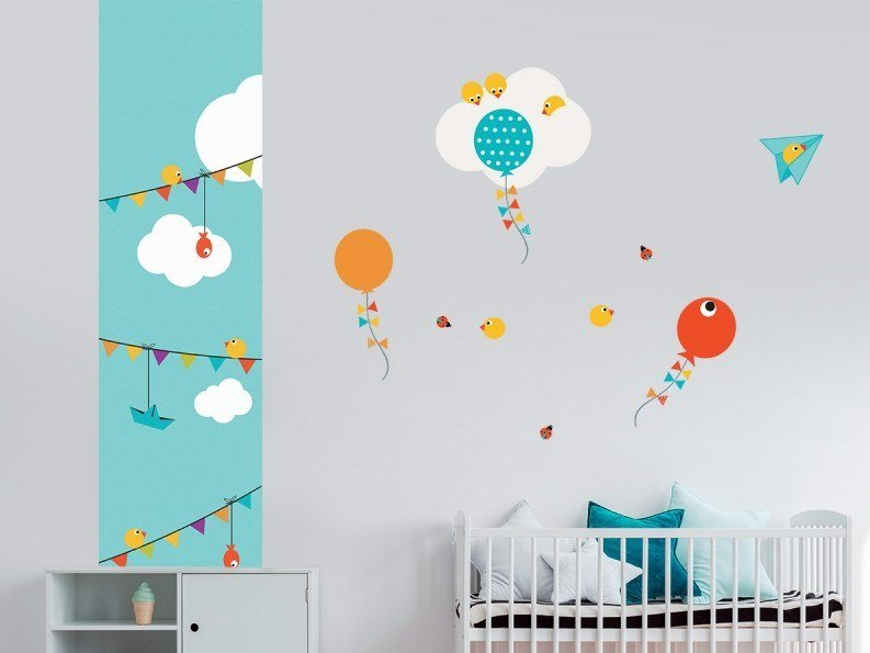 Fabric kids wallpaper PIOU FANIONS by ACTE-DECO