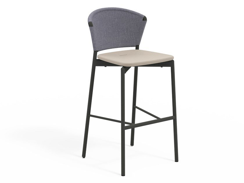 High stool with aluminum and resin backrest PIPER 050   Stool by RODA
