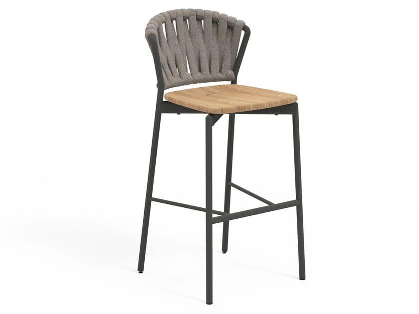 High stool in aluminum and teak PIPER 250   High stool by RODA