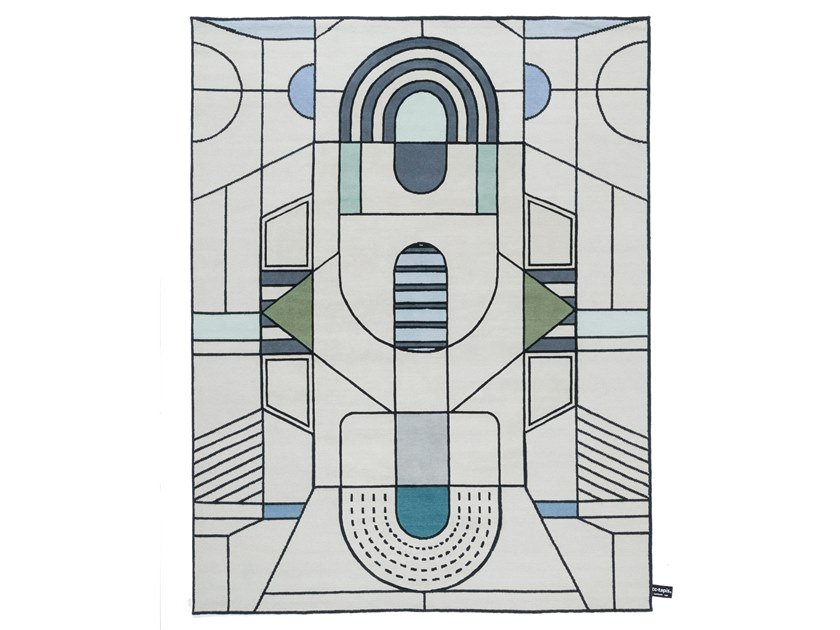 Handmade rug with geometric shapes PITAGORA OUTLINE by cc-tapis