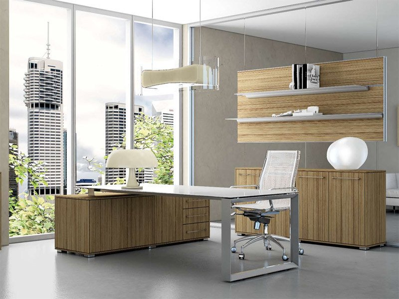 L-shaped office desk with drawers PITAGORA PVAC20 by Arcadia