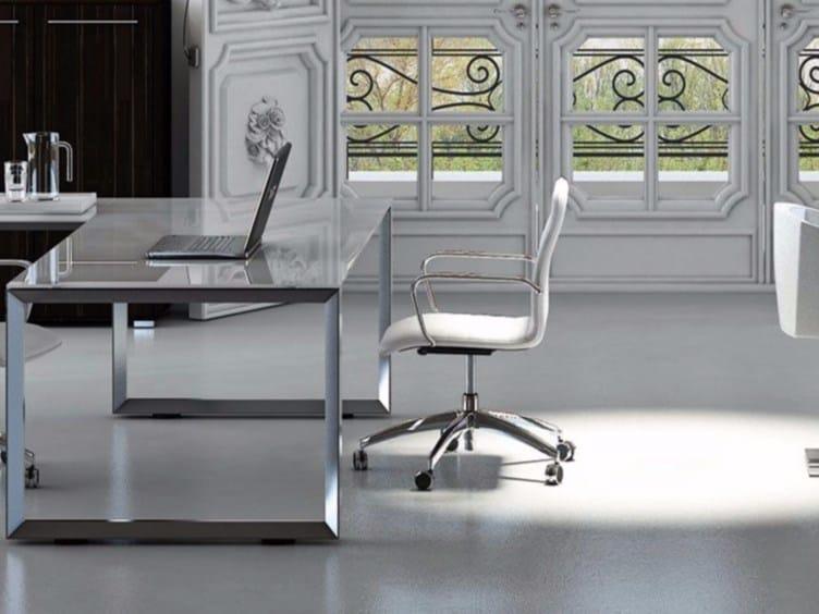 L-shaped crystal office desk PITAGORA PVDV20 by Arcadia