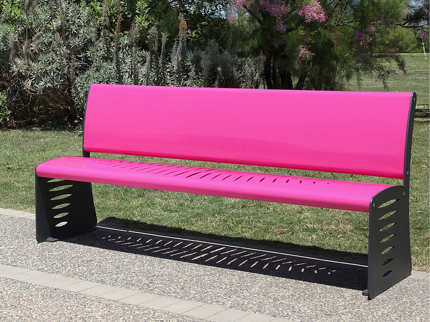 Steel Bench with back PIUMA | Bench with back by CITYSì