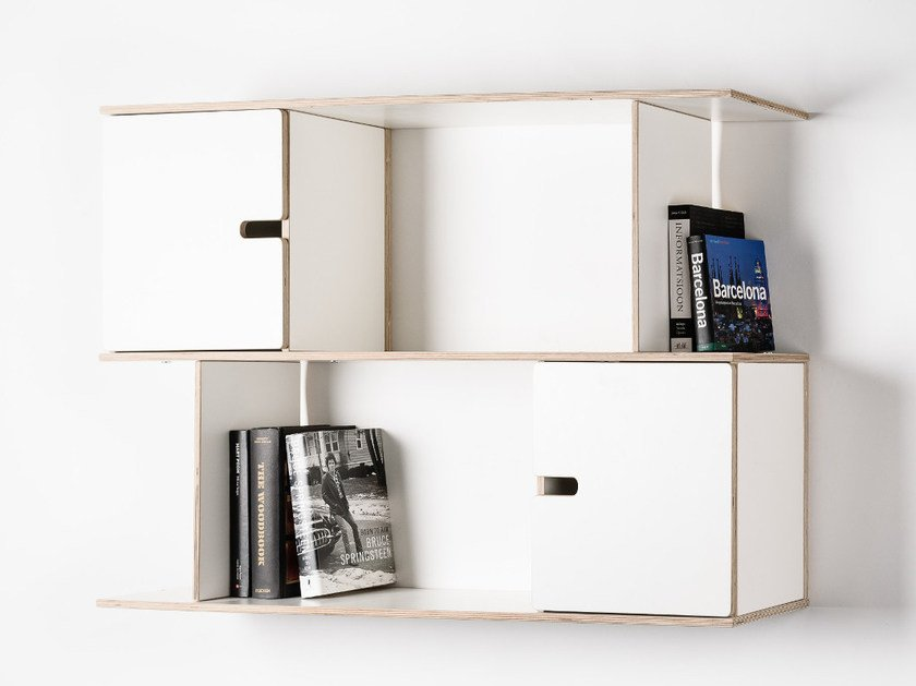 Floating plywood bookcase PIX | Floating bookcase by Radis