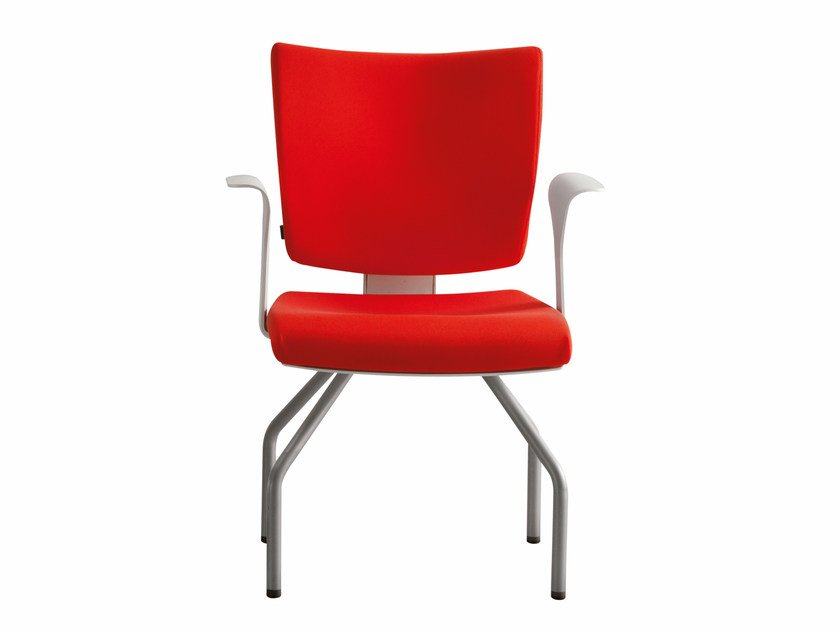 Upholstered fabric chair with armrests PIXEL | Chair with armrests by Luxy