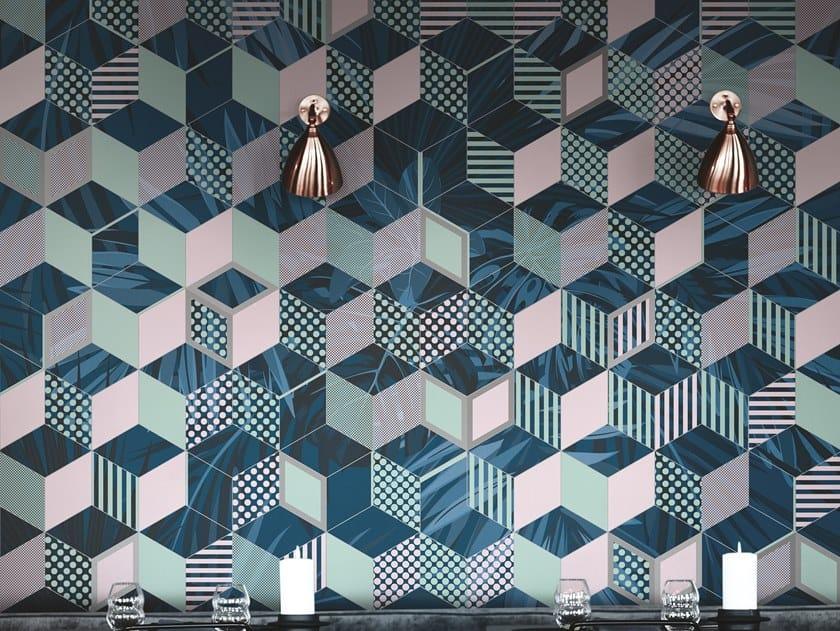 Geometric optical wallpaper PIXY by Inkiostro Bianco