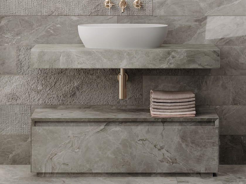 Piano lavabo singolo in gres porcellanato PLAN by Italgraniti