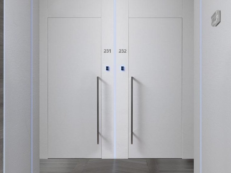 Hinged flush-fitting door PLANA by COCIF