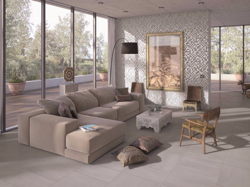 Full-body porcelain stoneware flooring with concrete effect PLANET   Flooring by Marca Corona
