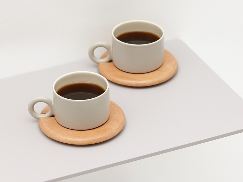 Porcelain espresso cup with saucer PLANK | Espresso cup by ZENS Lifestyle