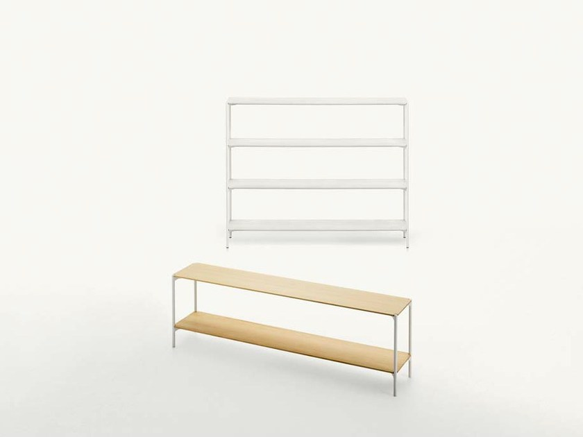 Freestanding double-sided Accoya® wood bookcase PLANO | Bookcase by paola lenti