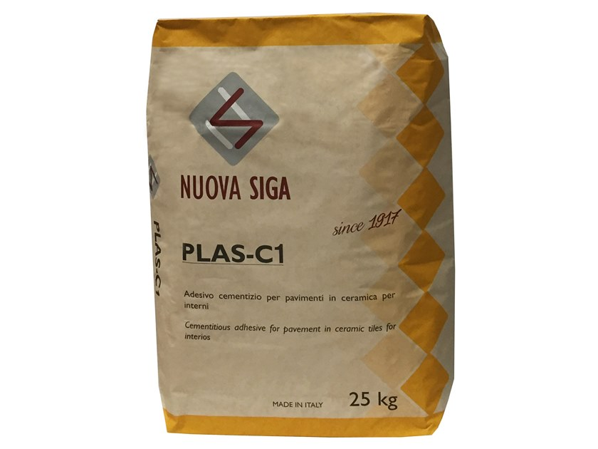 Cement adhesive for flooring PLAS C1 by Nuova Siga