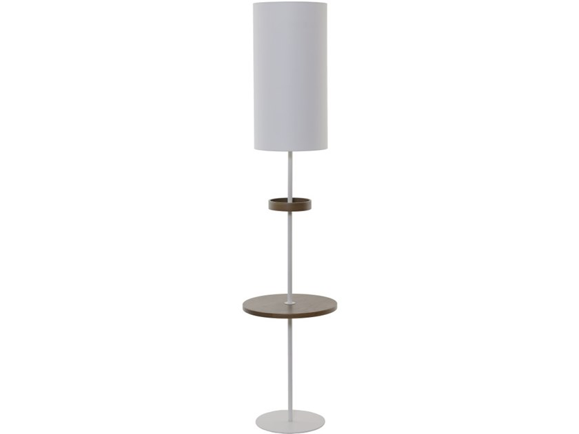 Metal floor lamp with shelf PLATEAUX BOIS by Flam & Luce